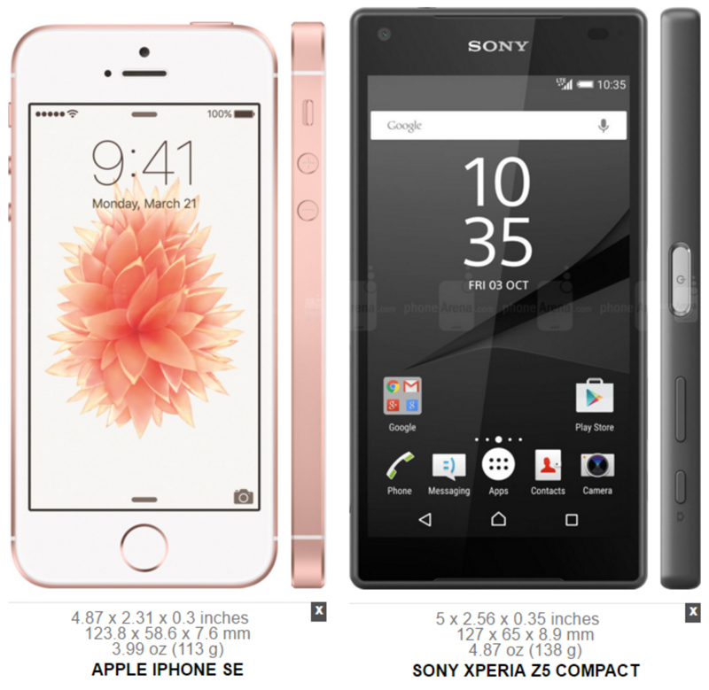 Apple iPhone SE vs. Sony Xperia Z5 Compact