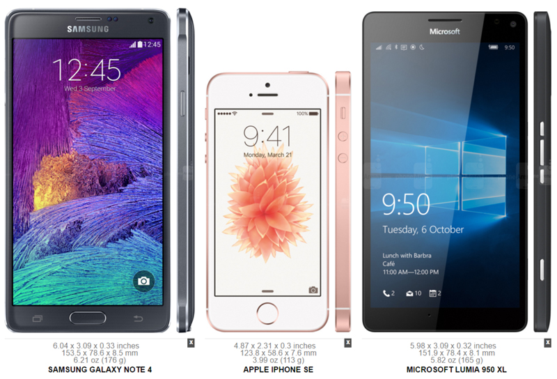 Samsung Galaxy Note 4 vs. Apple iPhone SE vs. Microsoft Lumia 950 XL