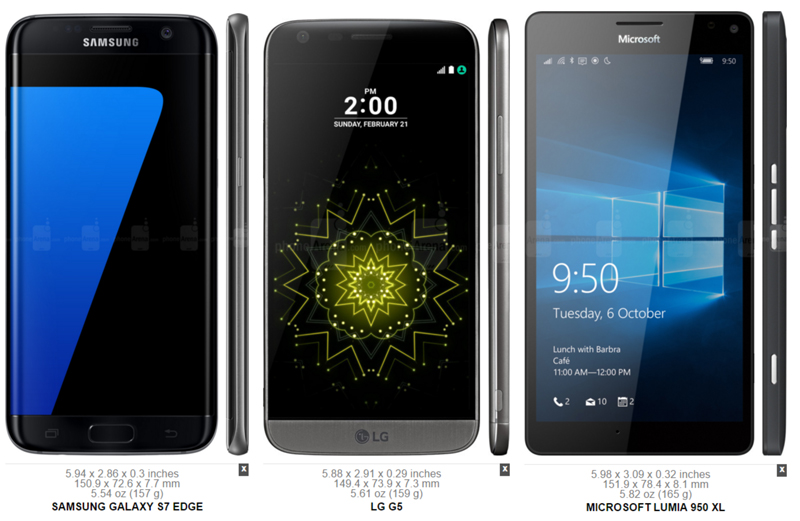 Samsung Galaxy S7 Edge vs. LG G5 vs. Microsoft Lumia 950 XL